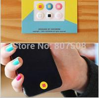 (100packs/lot) cute cartoon pattern home button sticker for iphone 4/5 for ipad 3D home button sticker
