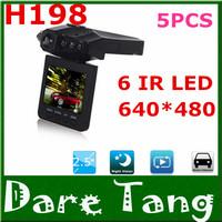 Free Shipping H198 Car DVR Car Black Box Camera with 6 IR LED Night Vision, 2.5 Inch 270 Degree Rotated Screen P02C