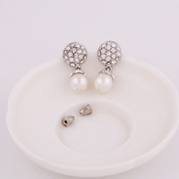 Alloy rhinestone pearl earrings for women