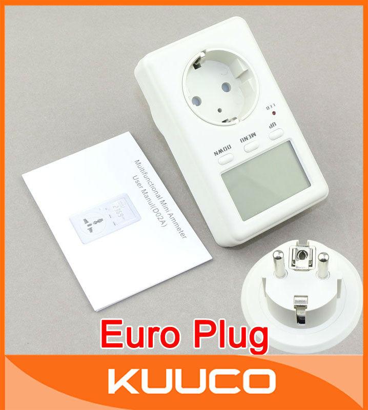 EURO-Plug LCD Socket Power Meter 160-280V 230V AC Multi-function Energy Watt Monitoring Electricity Measurement #090279(China (Mainland))