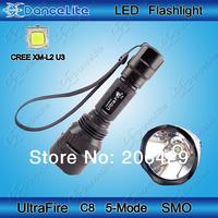 1800lm UltraFire C8 CREE XM-L2 U3 LED Flashlight 5M SMO Reflector L2 U3 LED Torch + Mail Free