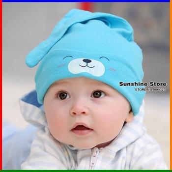 Sunshine store #2C2659 10 pcs/lot(3 colors)baby sleeping hat children cowl print smile bear eyes hats 100% cotton night-cap CPAM