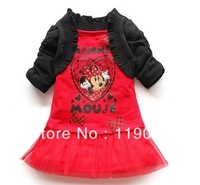 2013 Fashion 100%cotton Children's tutu baby girls cotton Minnie design dress girls princess 2pcs/set (5set/lot)