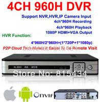 CCTV dvr 4ch 960h full D1 ONVIF Hybrid nvr hvr 1080p HDMI p2p cloud digital video 4 channel security recorder Free shipping
