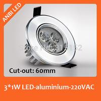 High bright led spotlight led ceiling light downlight 3w  full set small spotlights mini blade,Dia68mm,cut-out 55-60mm