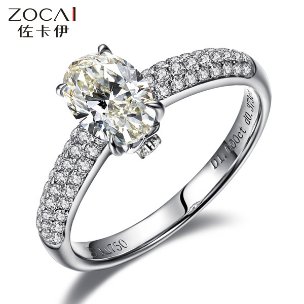 ZOCAI BRAND FINE PETITE MICROPAVE 0.9 CT NATURAL D-E / SI OVAL CUT DIAMOND ENGAGEMENT RING JEWELRY 18 K WHITE GOLD FREE SHIPPING(China (Mainland))