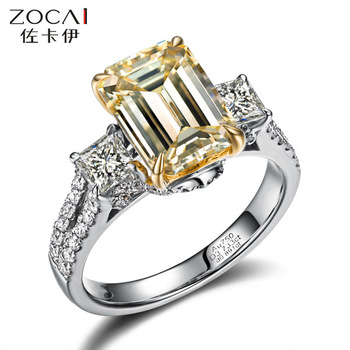 ZOCAI TRIO PRINCESS CUT PAVE 2 CT NATURAL H / SI EMERALD CUT  18 K WHITE GOLD DIAMOND ENGAGEMENT RING RGX001983