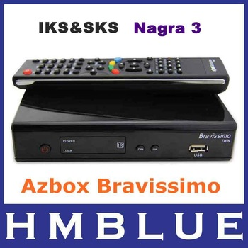 Free shipping! Azbox bravissimo twin hd tuner  satellite receiver  BRAVISSIMO support sks and iks Nagra3azbox linux OS