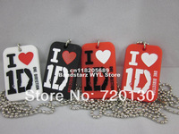 "I love 1D, One Direction Dog Tag Necklace with 24"" ball chain, Siliocn dog tag pendant, 50pcs/lot, free shipping"