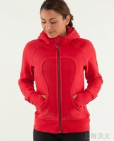 Lulu lemon Lululemon scuba Lady Sport Athletic Jacket yoga wear coat  Women's hoodies fashionable popular red color  001