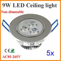 5pcs/lot 3x3W 9W Ceiling downlight Epistar LED ceiling lamp Recessed Spot light 85-265V for home decor illumination Freeshipping