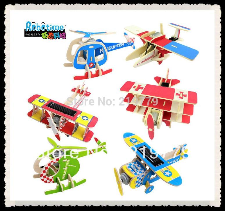 Innovative Items Handmade DIY Solar power Energy Plane 3D wood puzzle Learn Education toys for children(China (Mainland))