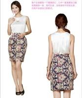 new fashion summer autumn 2014 high quality satins print high waist plus size casual midi skirt women skirts female