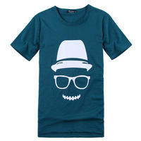 Free shipping, 2013 new arrival men's cute print tee/T-shirt, dark blue black, plus sizeL-3XL, drop shipping, MTS033
