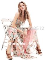 DS-D014 FREE SHIPPING Women's fashion bohemian chiffon  spaghtti strap design summer dress, maxi dress, long beach dress