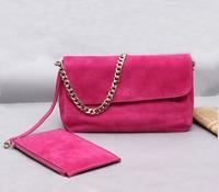 Fashion Celebrity Designer Bags 100%Genuine Leather+Pale Gold Chain Cosmetic Bag Nubuck Cowhide Messenger Vintage Shoulder Bags