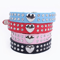 Free shipping  2014 lefdy new Fashion Dog Collars in PU Leather With Rhinestone Heart-shaped