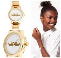 Wholesale Fashion Men/Women Dress Quartz Wrist Watch With Leather Strap And Beard Design Round Dial 3 Colors
