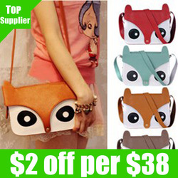 Wholesale free shipping 5pcs/lot 2013 new fashion ladies retro shoulder bag/PU cartoon cute School tote owl fox women bags(China (Mainland))