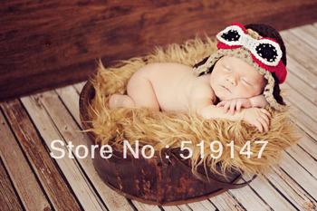 Free shipping New style pilot hat baby hat handmade crochet photography props newborn baby cap