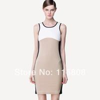 Alibaba apricot white block sleeveless o-neck tank business dresses summer dress with  S,M,L,XL,XXL,XXXL