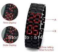 1pcs red LED Display Digital Samurai Lava Wrist Watch Plastic Sports Style Mens Womens Unisex hot Selling