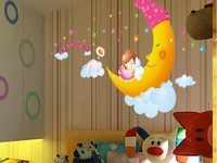 free shiping removable moon wall sticker for kid room sticker  45*60 cm vinyl bathroom sticker