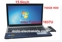 "Newest 15.6"" laptop with 640GB HDD Intel Celeron 1037U 15inch notebook computer with CD/DVD RW bluetooth camera"