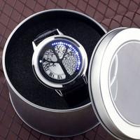 New Arrival Fashion Touchscreen Blue LED Men Boys Tree Of Life Quartz Wrist Watches With Iron Box Free Shipping