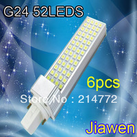 Drop price !1280 Lumens 52 leds 5050 SMD 13W  G24 LED Horizon Down Light Bulb Lamp Lighting 85~265V 6pcs Free shipping