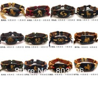 12Pcs=1Set Free Shipping Zodiac Handmade Bracelets Lovers Constellation Bracelets Fashion leather Bracelets