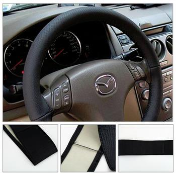 1 шт. DIY машина руль черный обложка с иголок и ниток подлинная искусственная кожа оптовая продажа
