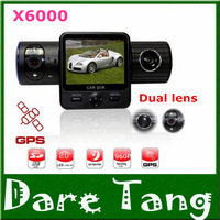 Free Shipping Full HD Reverse Camera X6000 With Dual Lens / G-Sensor / GPS / IR Light+Retail Box(X6000)