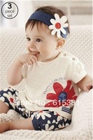 2013 New arrival Baby suit Girl's summer clothing sets kids wear : hair band + flowers short sleeve + pants