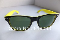 Name Brand complete  logo wayfarer 2140 sunglasses  yellow frame blue frame size 54mm  free shipping