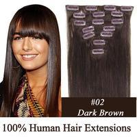 "16"" 18"" 20"" 22"" 24"" 26"" 28"" 100% human clip in hair extensions clip on hair extensions #2 dark brown 70g 80g 100g 120g 7pcs"