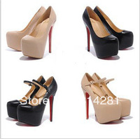 sheep skin leather fashion platform high heel shoes