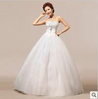 Free Shipping  2014 Fashion Sweet Crystal Diamond Princess Tube Top Lace Wedding Dress  hs238