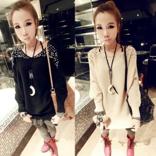 2013 new style female plus size elegant loose pearl beading long-sleeve sweater 1pc free shipping