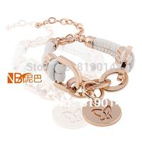 Wholesale and Retail Handwork  Pu Leather Metal Unisex Fashion Alloy Charms Bracelet Wristband bangle Free Shipping