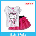 2013In Stock  Reatil Kid's summer Clothing  happy cat  skirt girl's Short Sleeve T-Shirt+Short dress baby Short-sleeved + skirt