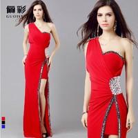 2014 New Fashion Women's dress , Fashion Sexy One-shoulder Evening Dress slim vestidos Wedding party dresses Free shipping