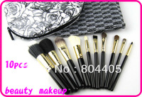 free shipping!! professional 10pcs high quality  makeup brush set , cosmetic brush set  with 2 cosmetic pouch