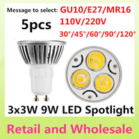 Free shipping 5pcs/lot CREE Dimmable GU10 E27 E14 GU5.3 MR16 B22 9W=35W High power LED Bulb Lamp Warm/Pure/Cool White