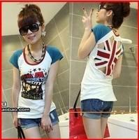 Free Shipping New Women Fashion Cotton O-neck union jack  ladies top short sleeve T shirt British/UK flag back hollow