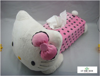 Cute Pink Hello Kitty Car Accessories Tissue Boxes Holder Cover Boxes In Car For The Storage Household Goods