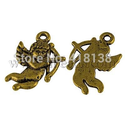 Tibetan Style Pendants Lead Free Nickel Free Cadmium Free Cupid Antique Golden 23mm long 16mm