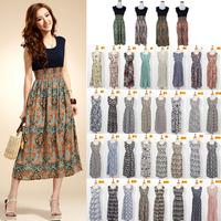 New 2014 Spring Summer Fashion 36 Colors Vintage Patterns Tank Dress Floral Print Bohemian  Maxi Dress Long Dress 129302