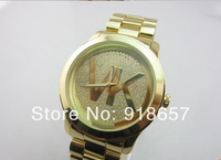 Free shipping 2014 New Fashion Men Full Steel Watches Casual Luxury Brand Kors Watch Men Quartz Rhinestone Watches 4 Color