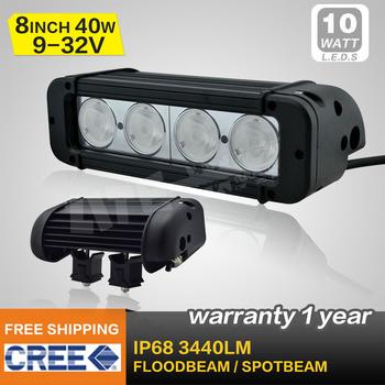 8 INCH 40W CREE LED LIGHT BAR LED DRIVING LIGHT FLOOD BEAM FOR OFFROAD MARINE BOAT TRACTOR ATV 4x4 UTV USE